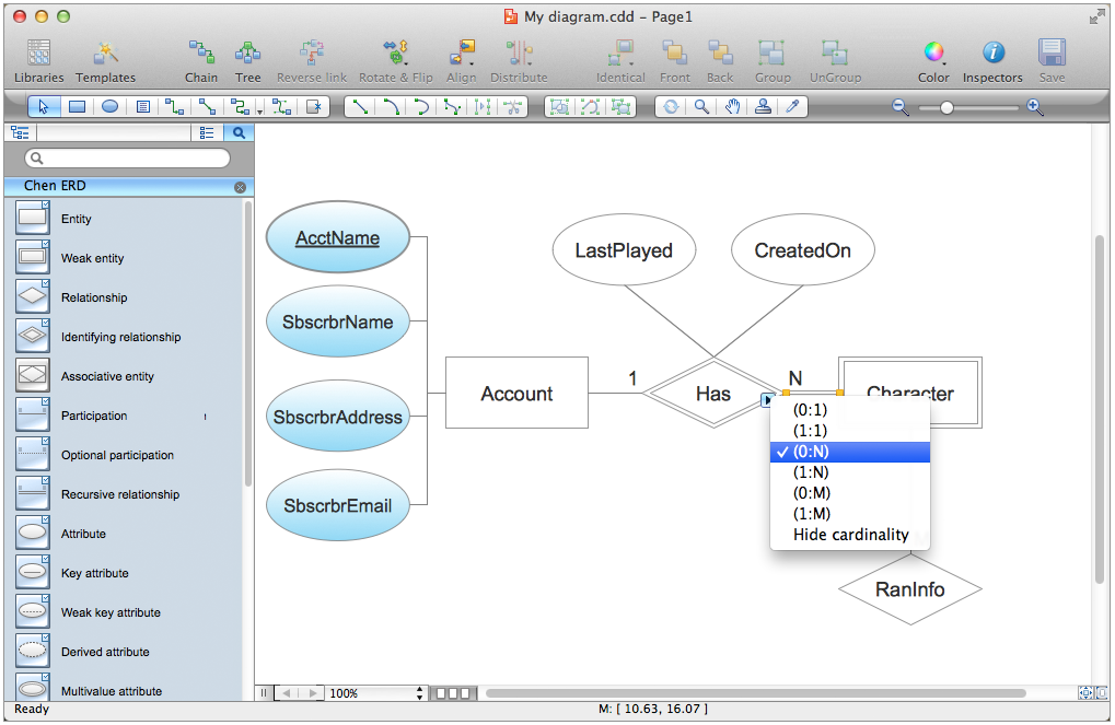 Entity relationship diagram erd solution for conceptdraw pro v9 the erd solution contains 45 objects in two libraries to extend the capabilities of conceptdraw pro ccuart Image collections
