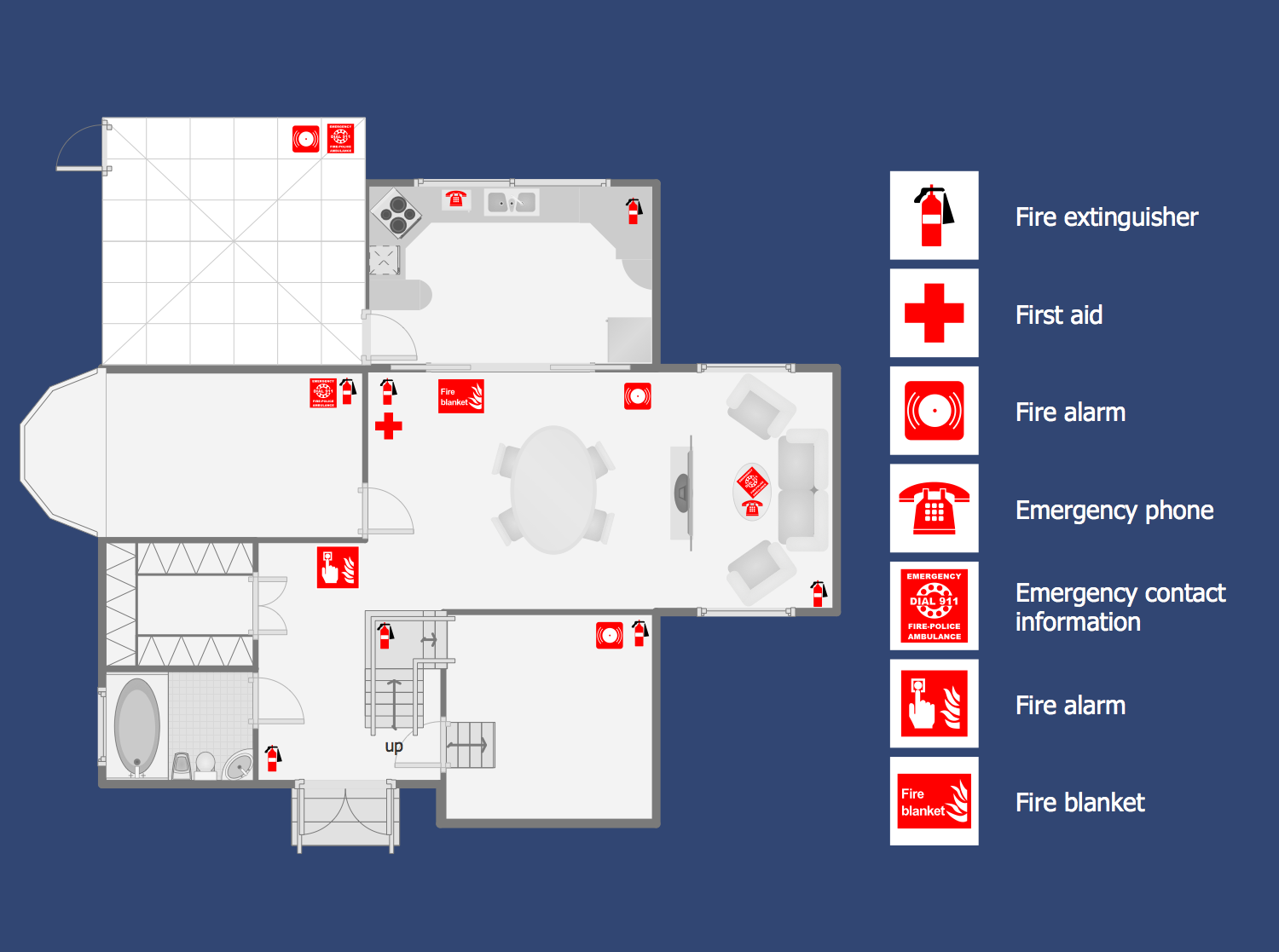 Fire and emergency plans solution for Blueprint drawing program