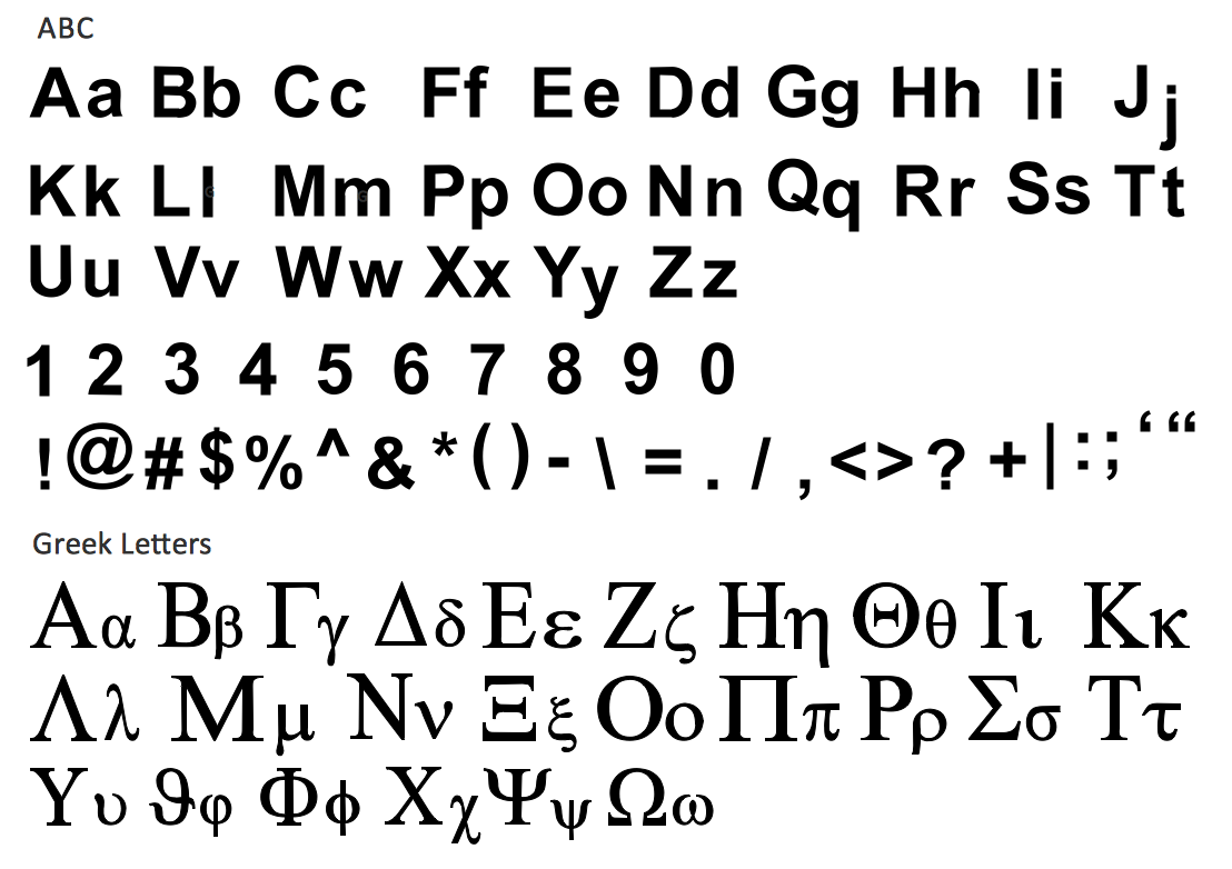 design elements abc and greek letters