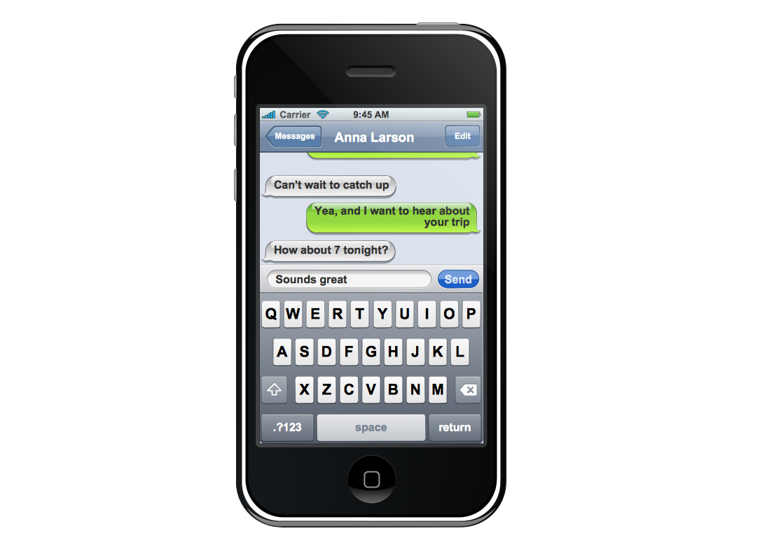 Graphic User Interface – iPhone SMS Application View