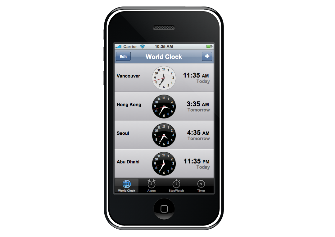 Graphic User Interface – iPhone Clock Application View