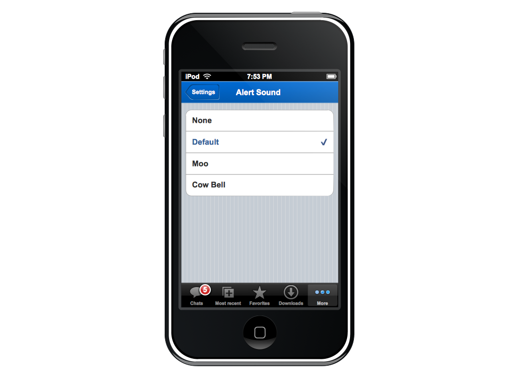 Graphic User Interface – iPhone More Function View