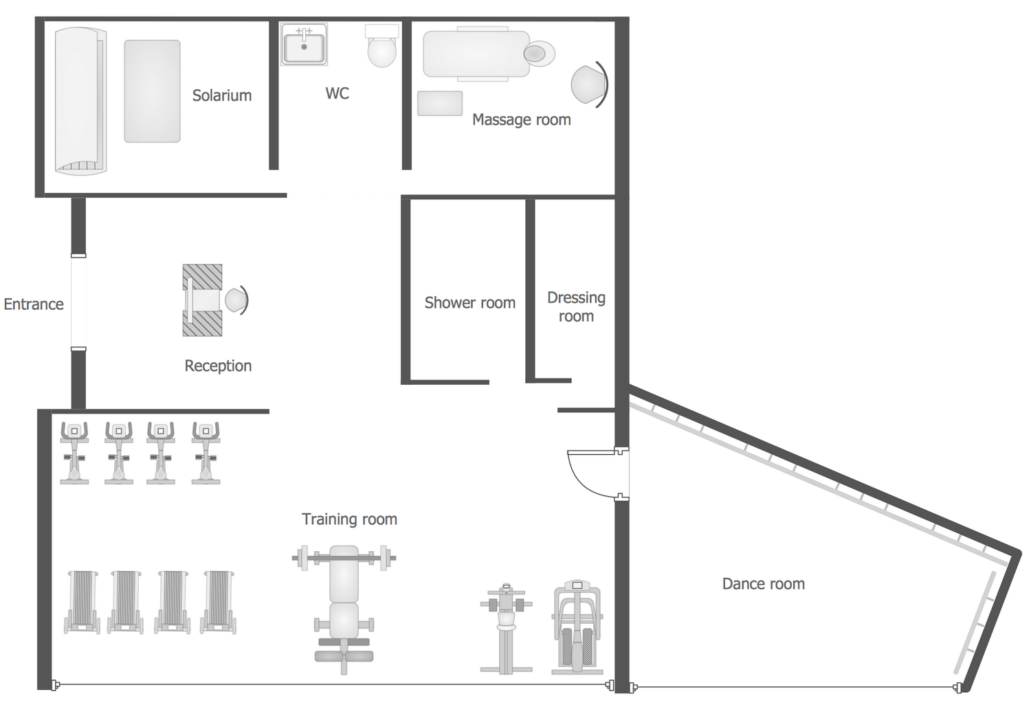 Gym and spa area plans solution for Area of a floor plan