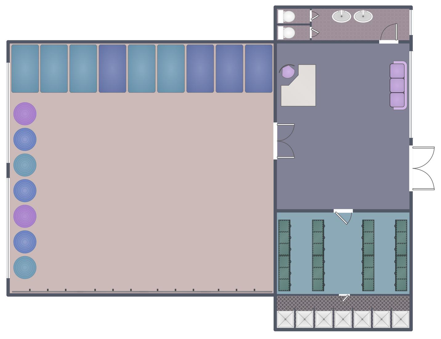 Gym and Spa Area Plans Solution | ConceptDraw.com