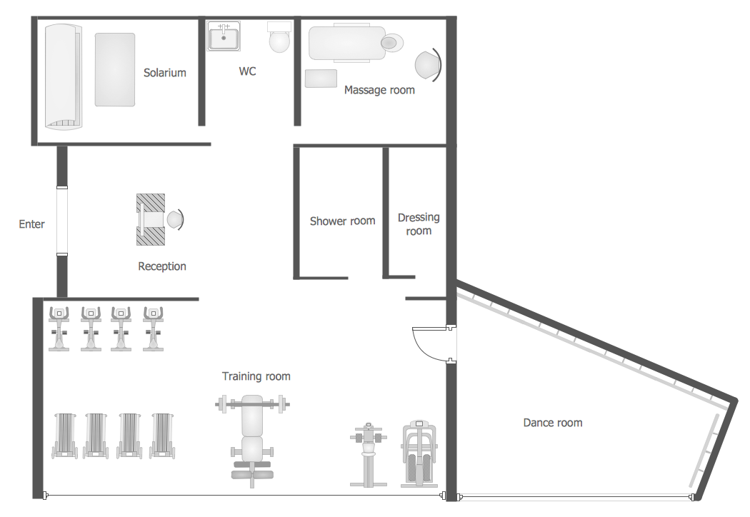Gym And Spa Area Plans Solution Conceptdraw Com