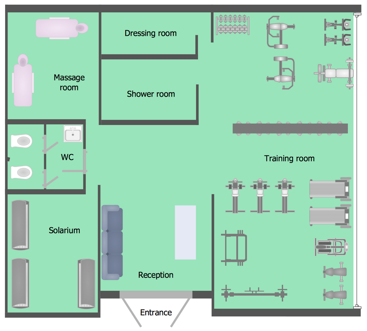 Gym and spa area plans solution Room layout builder
