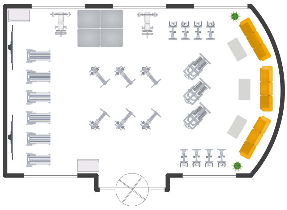 Gym and spa area plans solution for Machine shop layout software