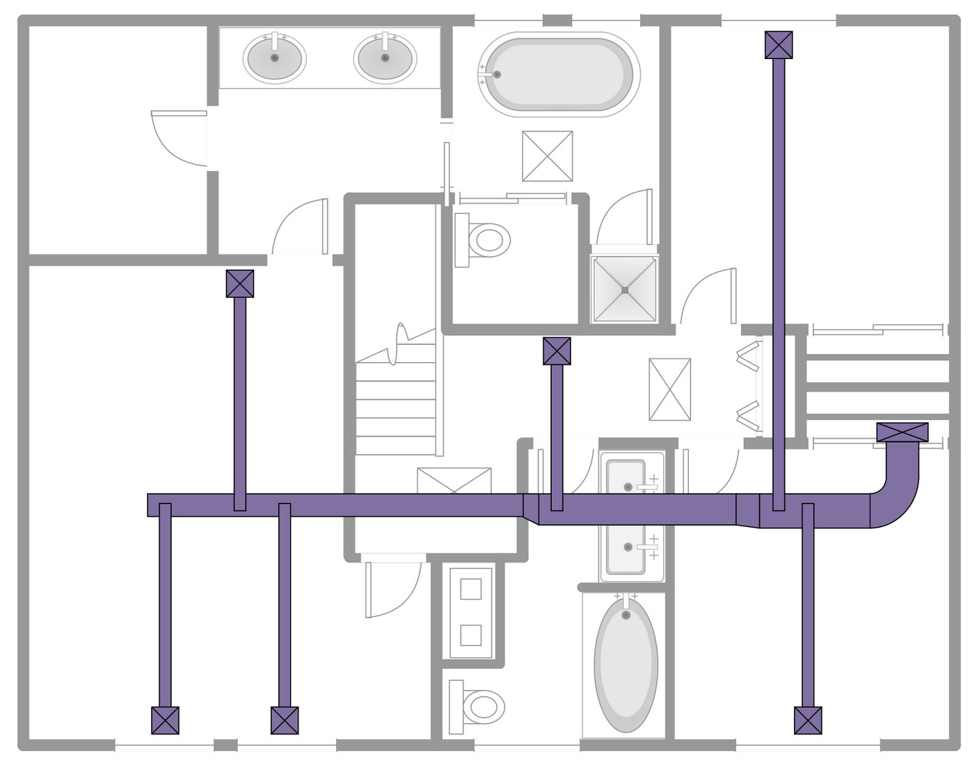 hvac plans solution | conceptdraw.com drawing of hvac hvac duct drawing