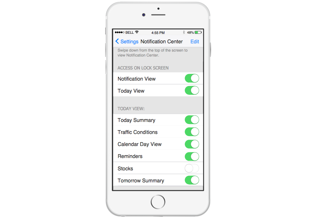 iPhone Graphical User Interface — Notification Center