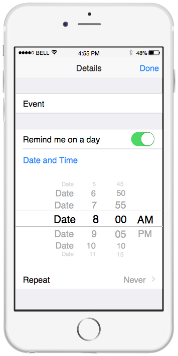 iPhone Graphical User Interface — Reminders Template