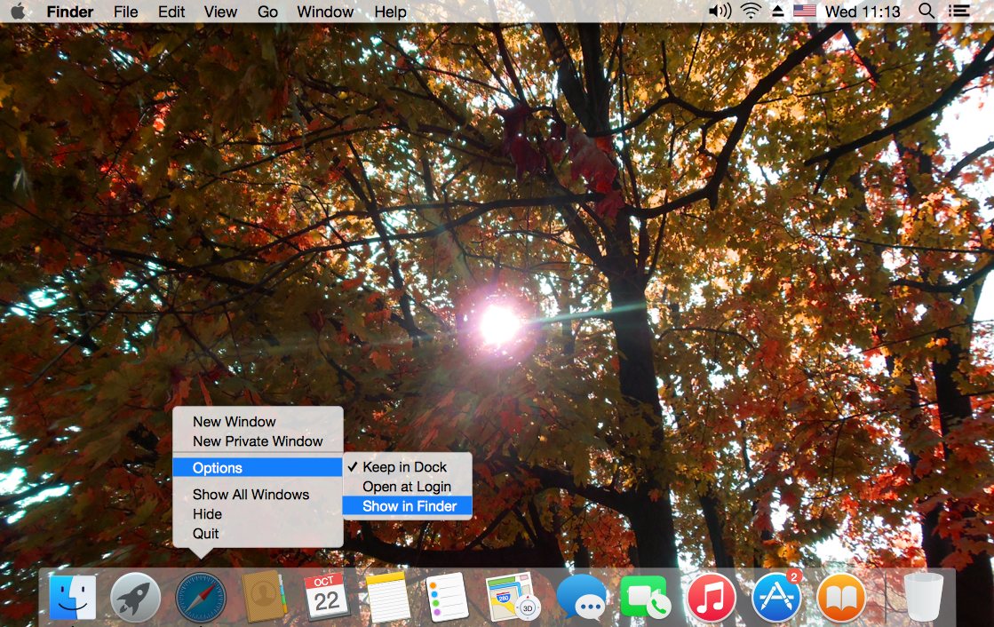 User Interface Design Example — OS X 10.10 Yosemite Dock Menu