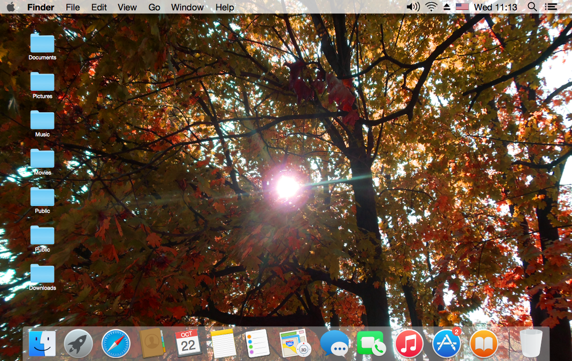 User Interface Design Example — OS X 10.10 Yosemite Home Screen