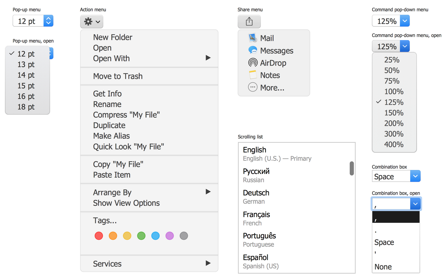 Design Elements — macOS Menu Controls