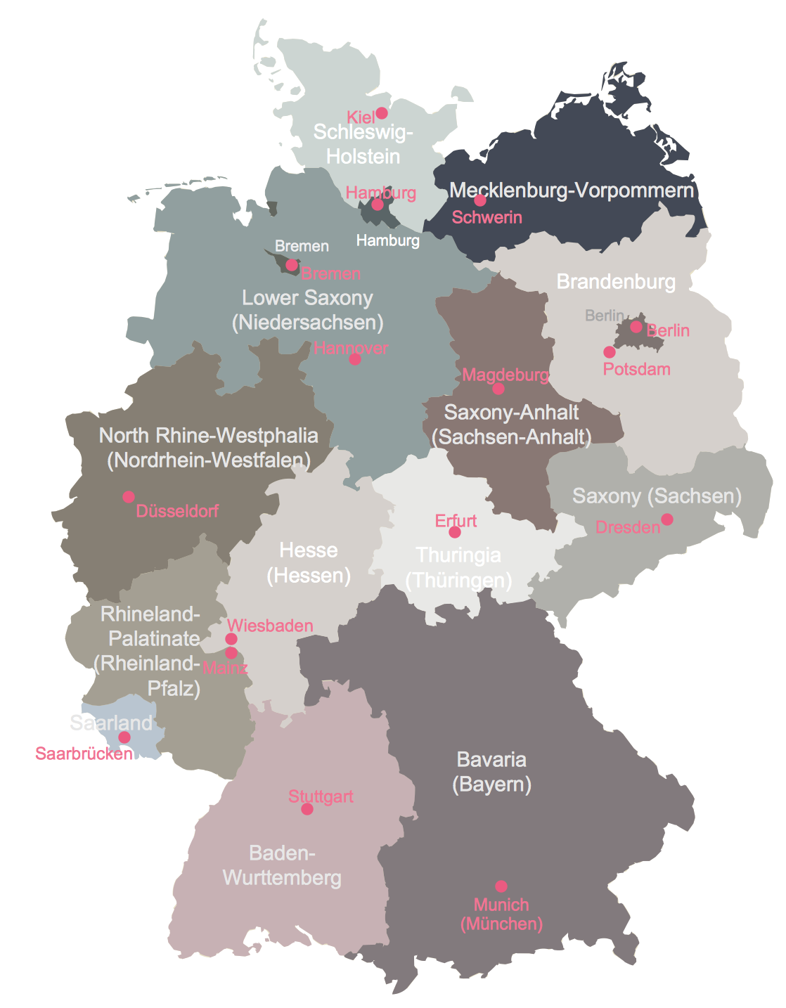 Map Of Germany Solution ConceptDrawcom - Germany map with major cities