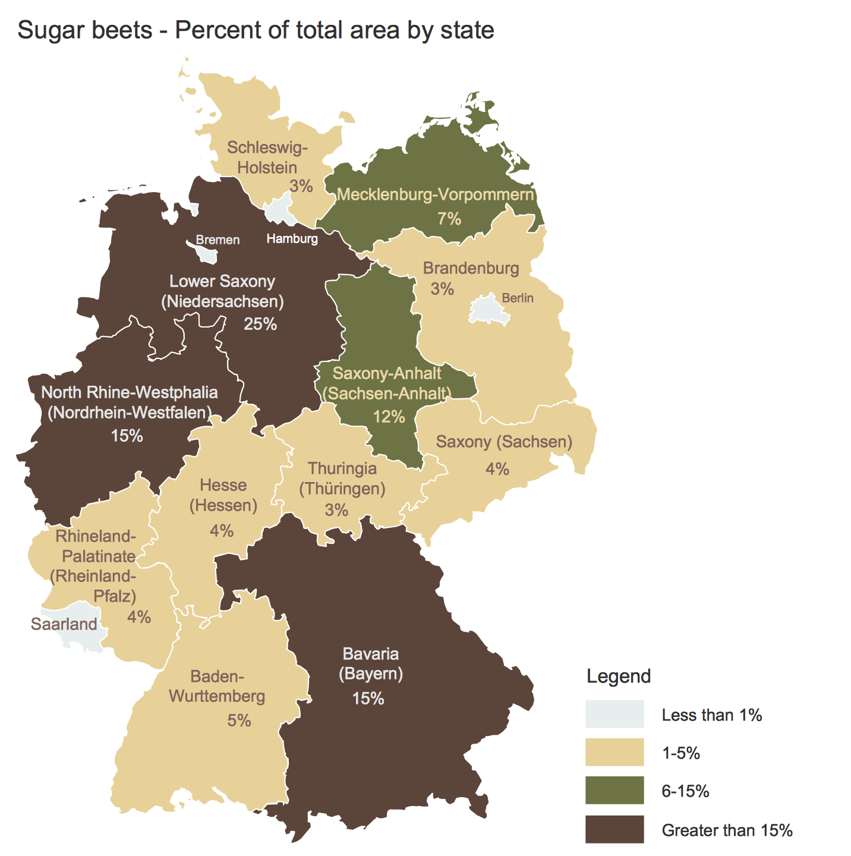 Germany Crop Areas Map — Sugar Beets