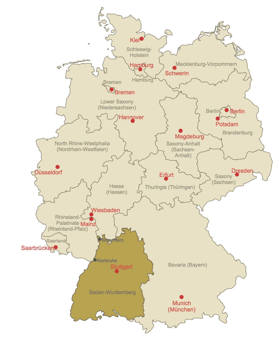 Locator Map of Baden-Wurttemberg