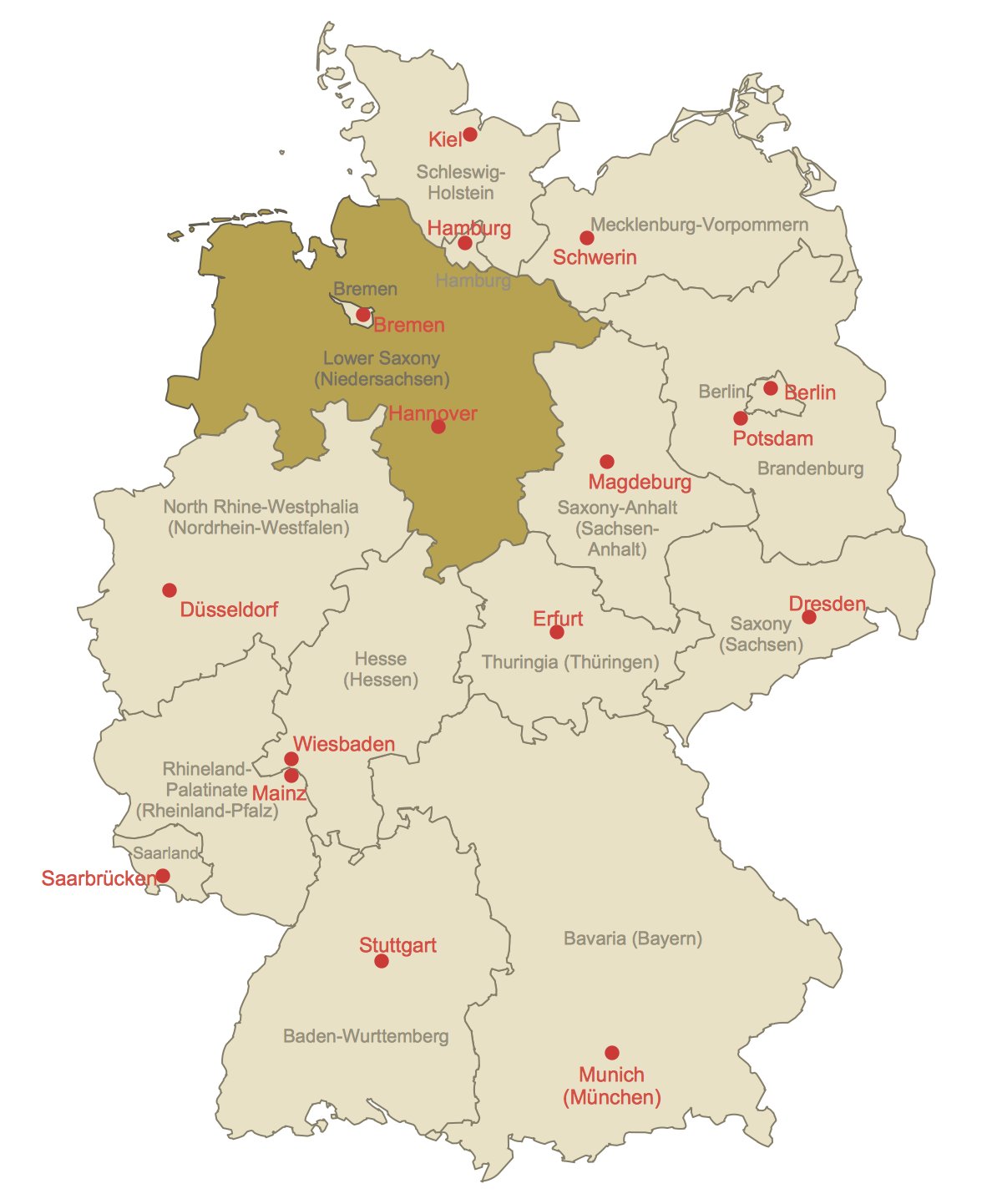Locator Map of Lower Saxony