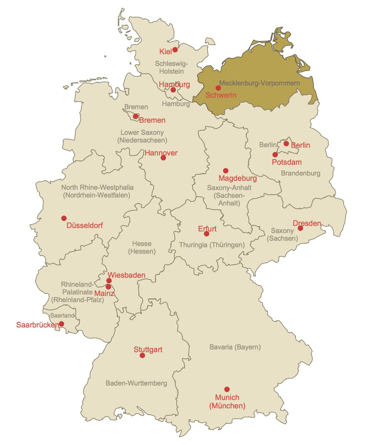 Locator Map of Mecklenburg-Vorpommern