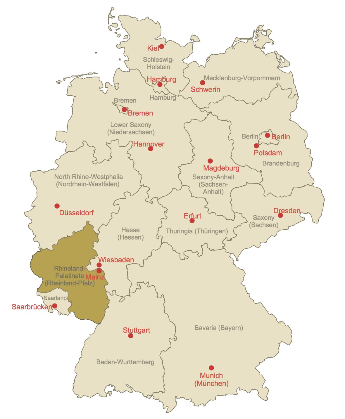 Locator Map of Rhineland-Palatinate