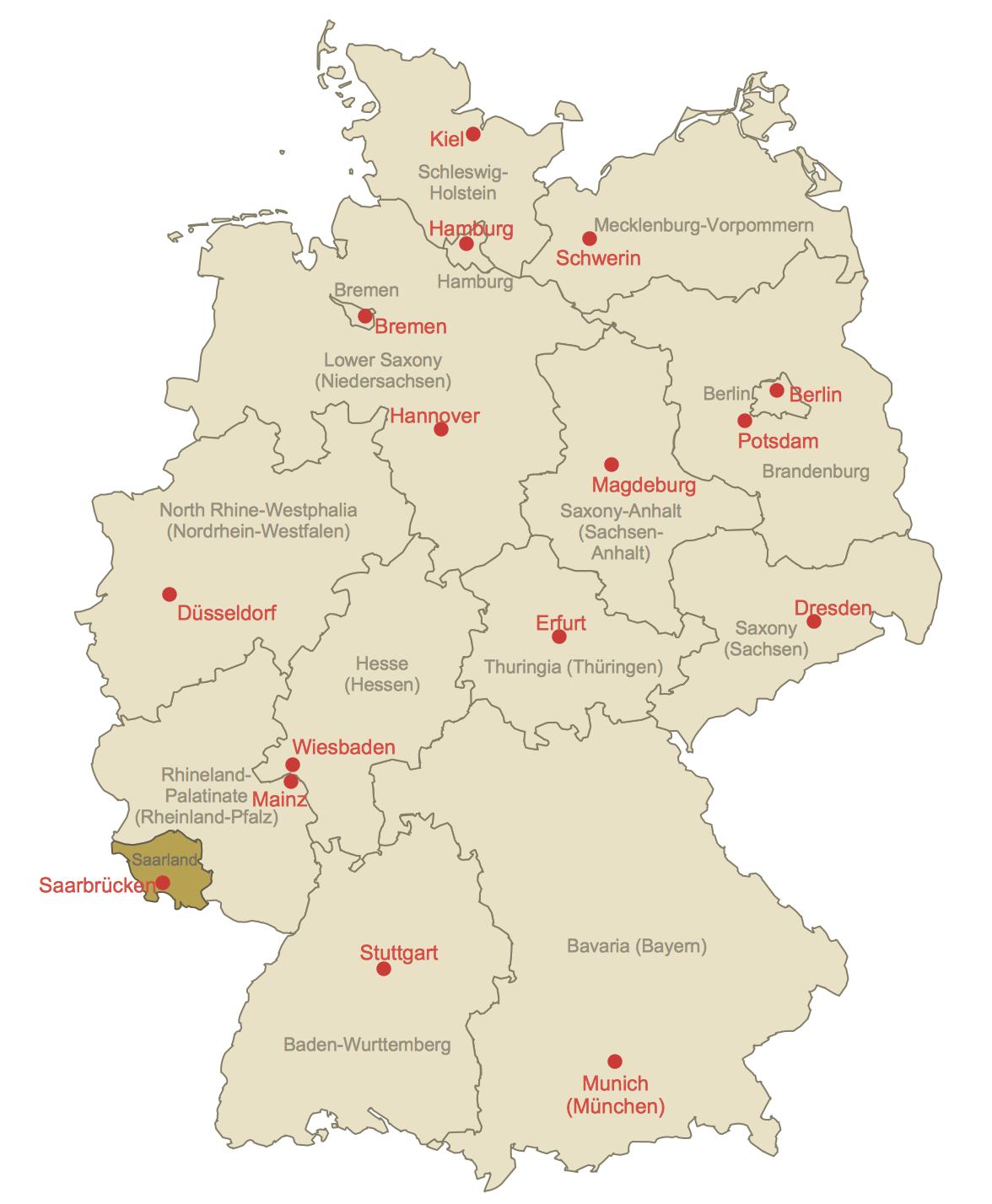 Locator Map of Saarland
