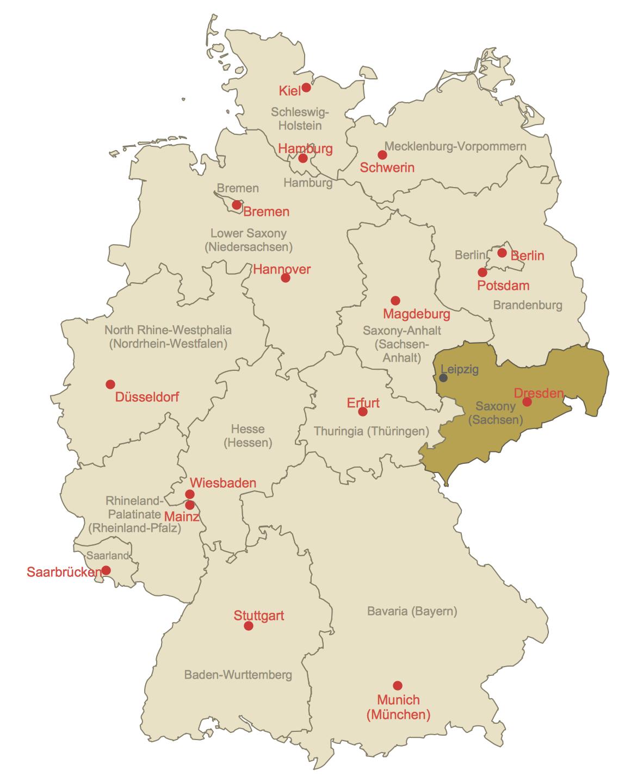 Locator Map of Saxony