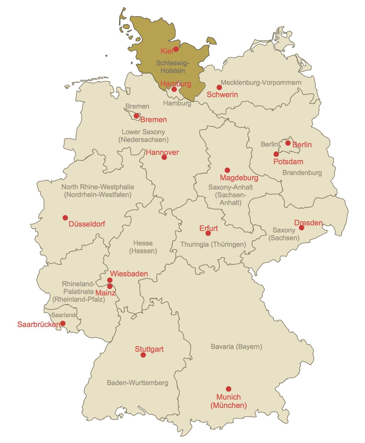 Locator Map of Schleswig-Holstein