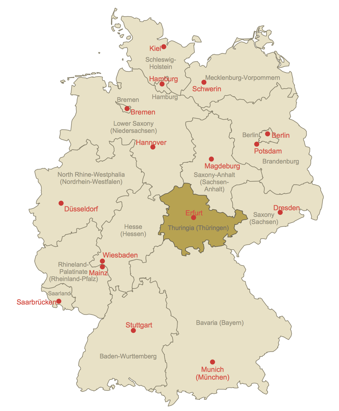 Locator Map of Thuringia