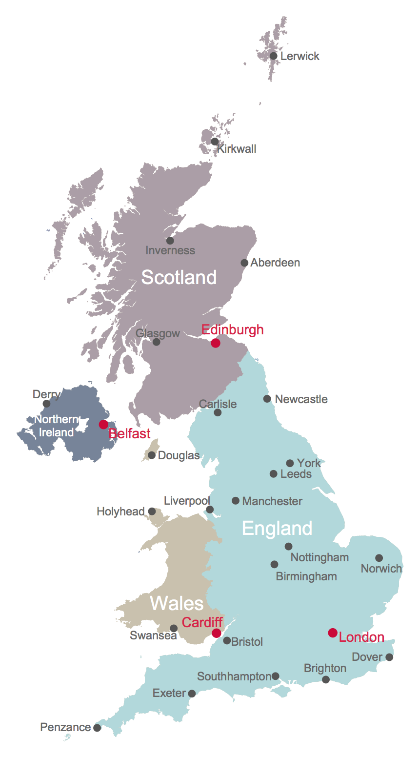 Cities Of Uk Map.Map Uk Solution Conceptdraw Com