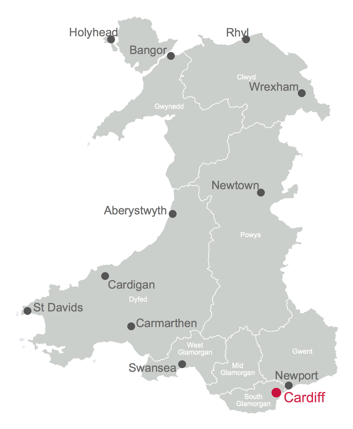 Map of Cities and Towns in Wales