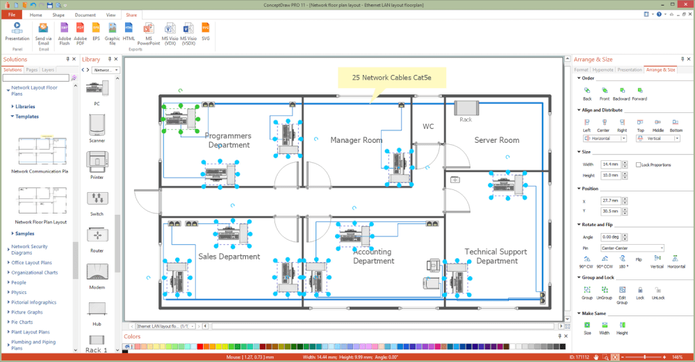 Network layout floor plans solution for Computer planner software
