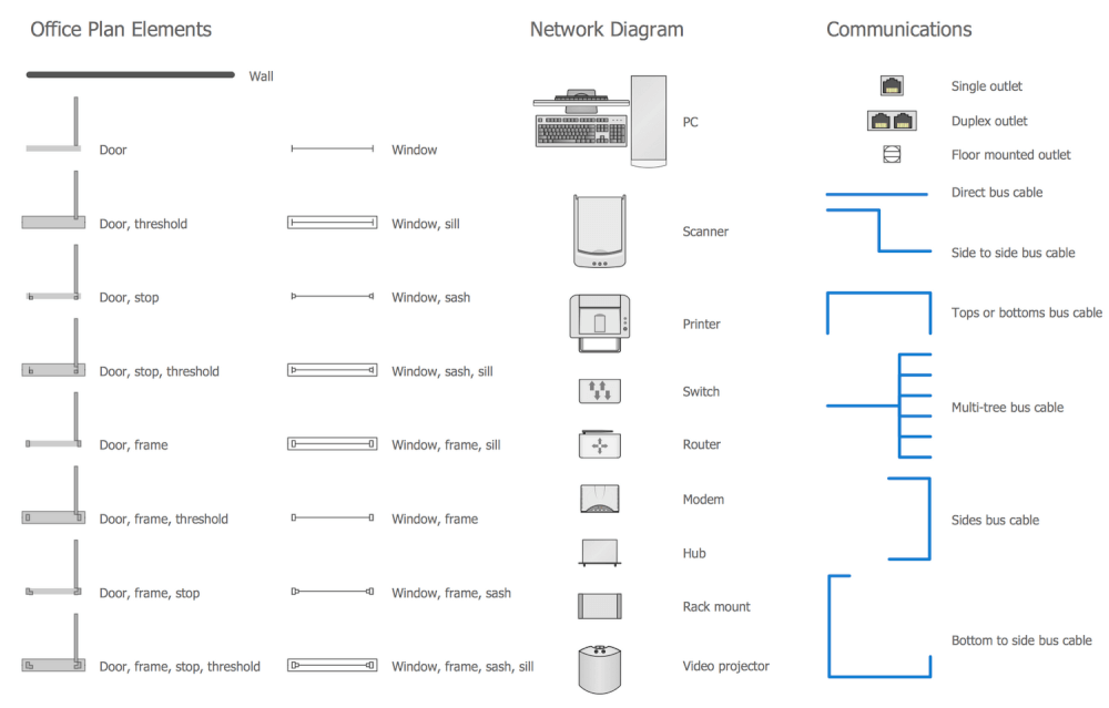 Design Elements Network Communication Plan Home Networking Vector Shapes