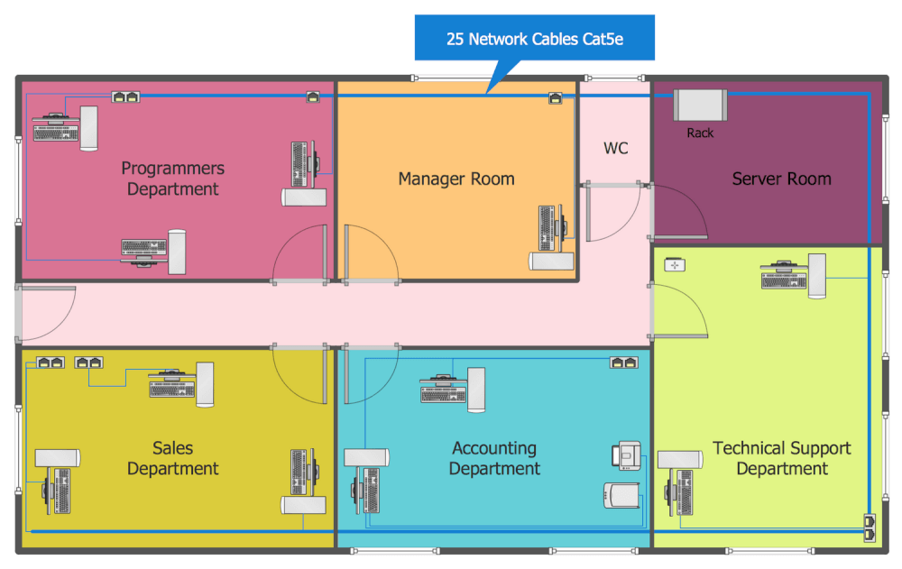 Network layout floor plans solution Room layout design online