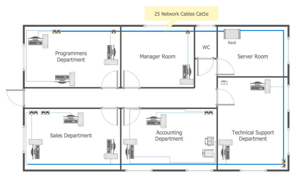 Network layout floor plans solution for Blueprint drawing program