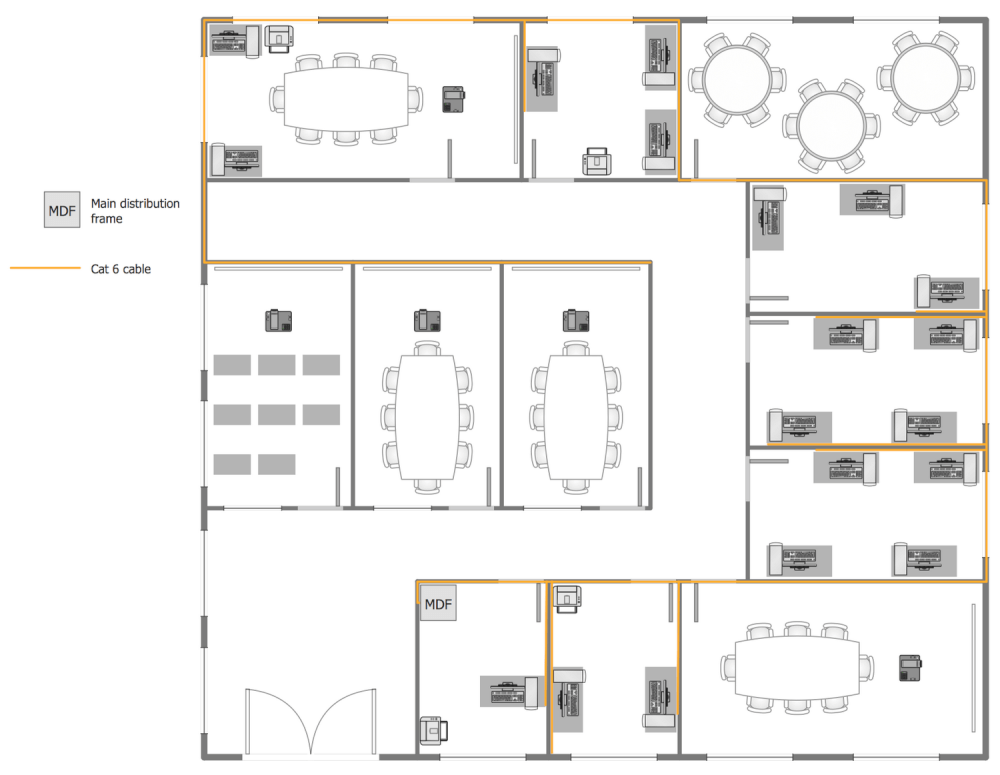 Network layout floor plans solution for Typical office floor plan