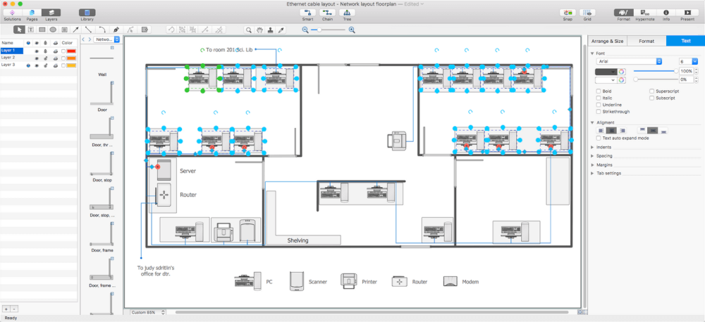 Network Layout Floor Plans solution for Apple OS X