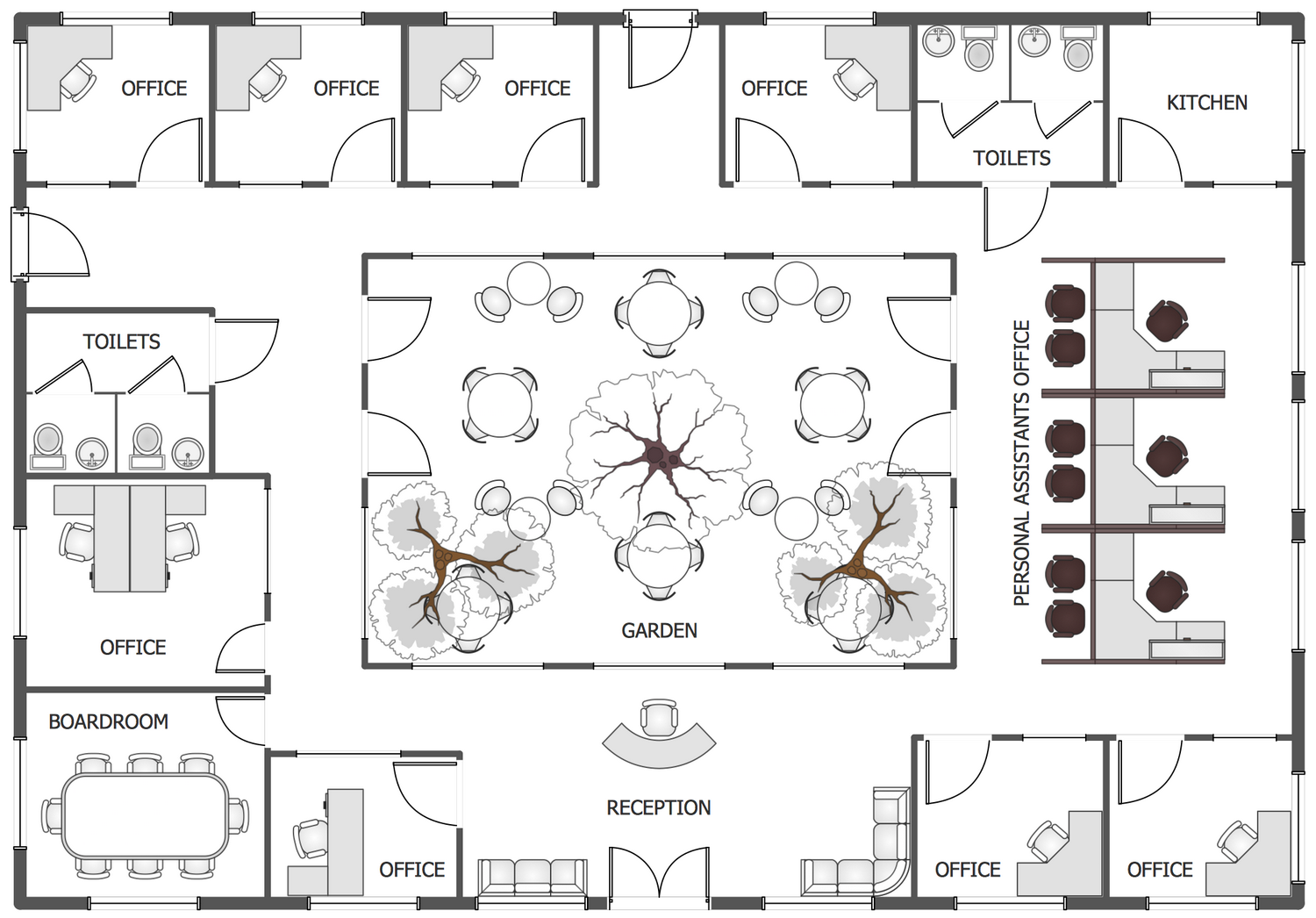 Office layout plans solution for Office floor plan samples