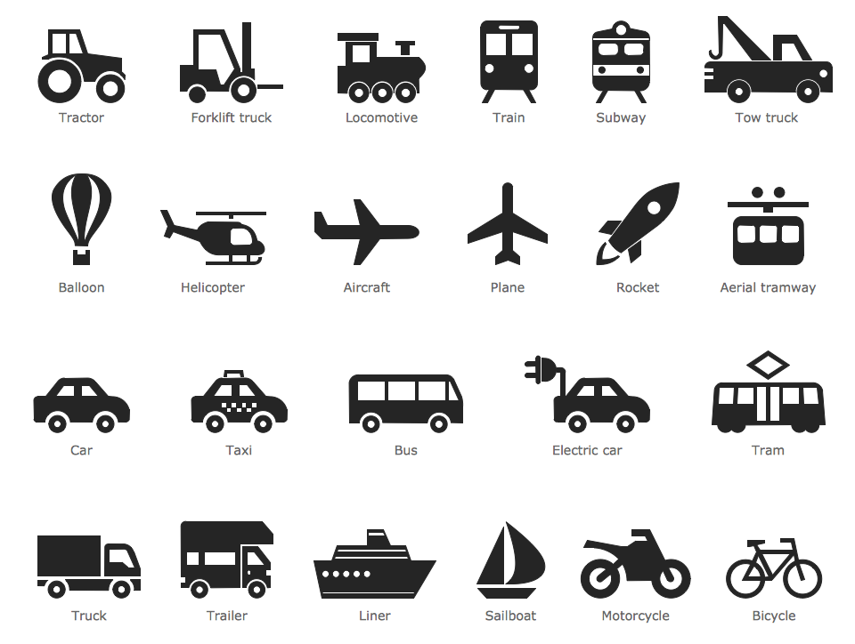 Design Pictorial Infographics - Transport Pictograms
