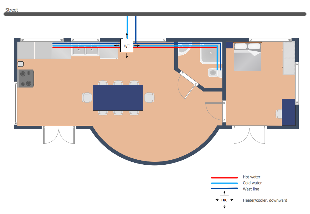 plumbing and piping plans solution conceptdraw com Plumbing System Diagram