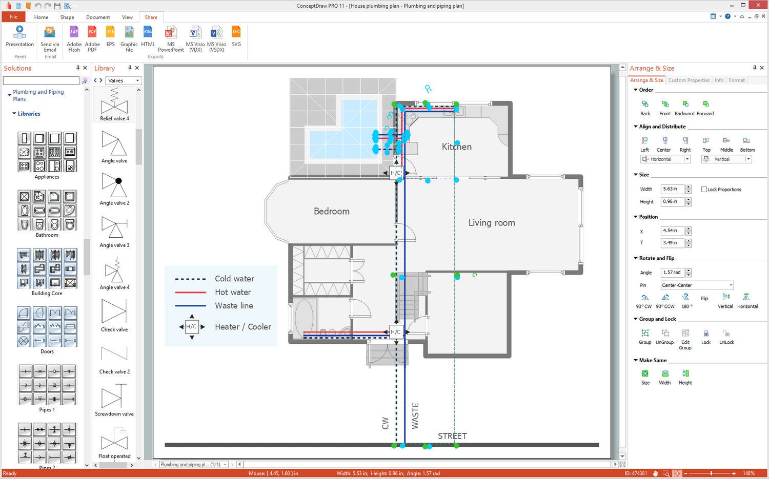 Plumbing and Piping Plans Solution for Microsoft Windows