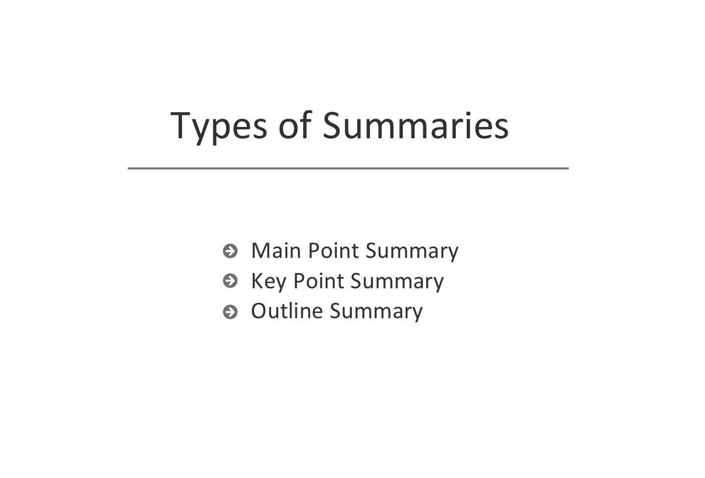 Types of Summaries — Slide Sample