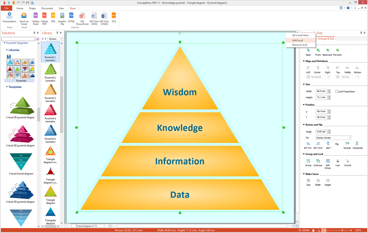 Pyramid Diagrams Solution for Microsoft Windows