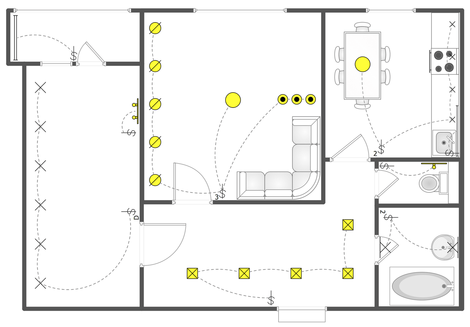 Apartment Building Layout Reflected Ceiling Plans Solution Conceptdraw Com