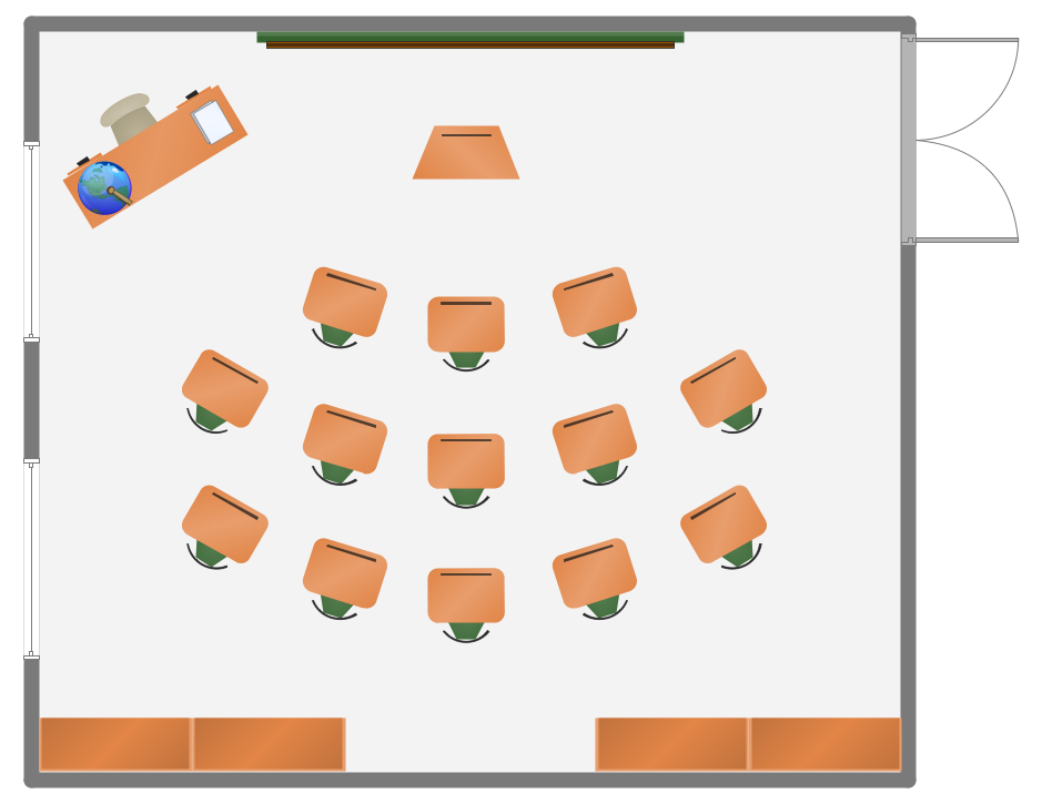 Modern Classroom Design Layout ~ School and training plans solution conceptdraw