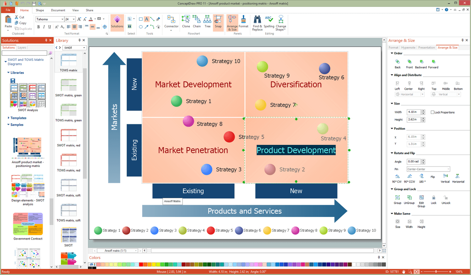 SWOT and TOWS Matrix Diagrams Solution for Microsoft Windows