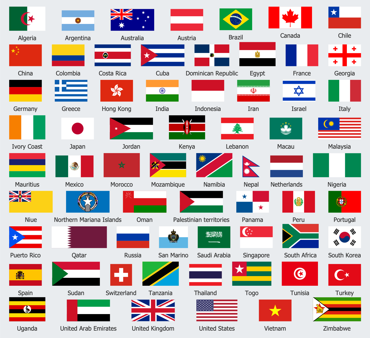 Design Elements — Tourist Country Flags