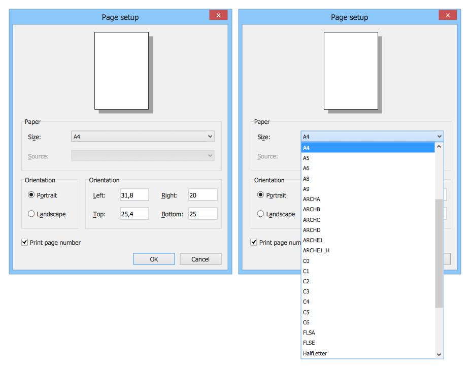 Windows 8 User Interface — Page Setup Dialog