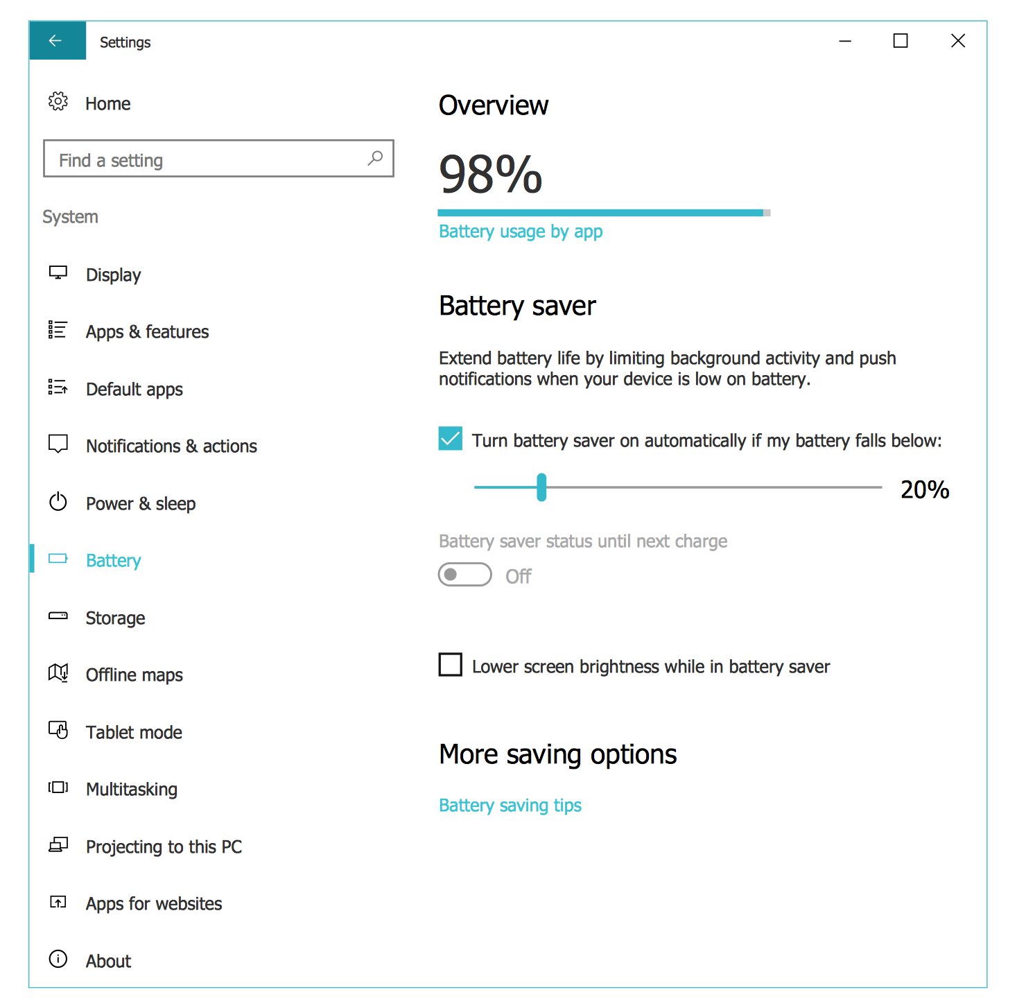 Windows 10 User Interface — System Settings Battery Saver