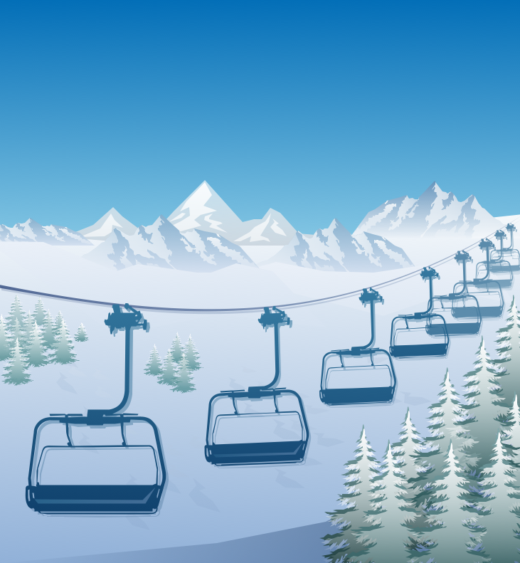 Winter Sports – Ski Lift in the Snow Capped Mountains Sample