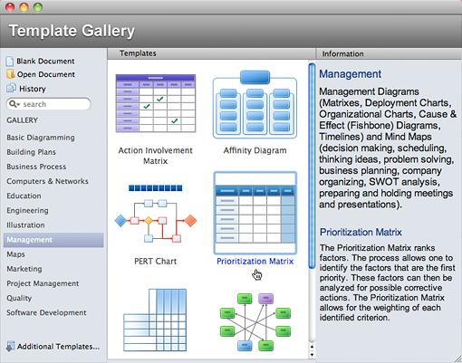 Create new Document using Prioritization Matrix
